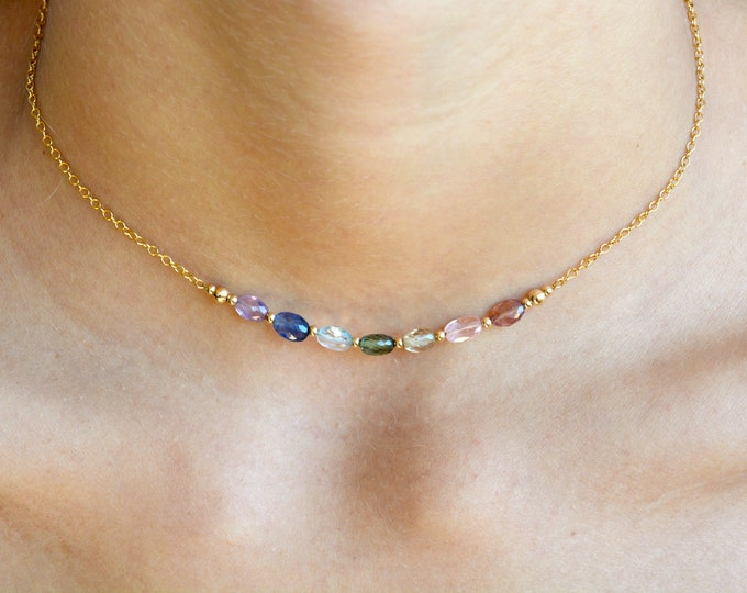 Colorful Bar Necklace ~ Stunning Sapphires