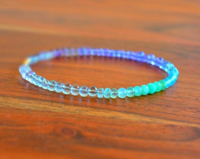 Ombre Multi Gemstone Bracelet | Moonstone and Fluorite Cuff | Birthstone Jewelry