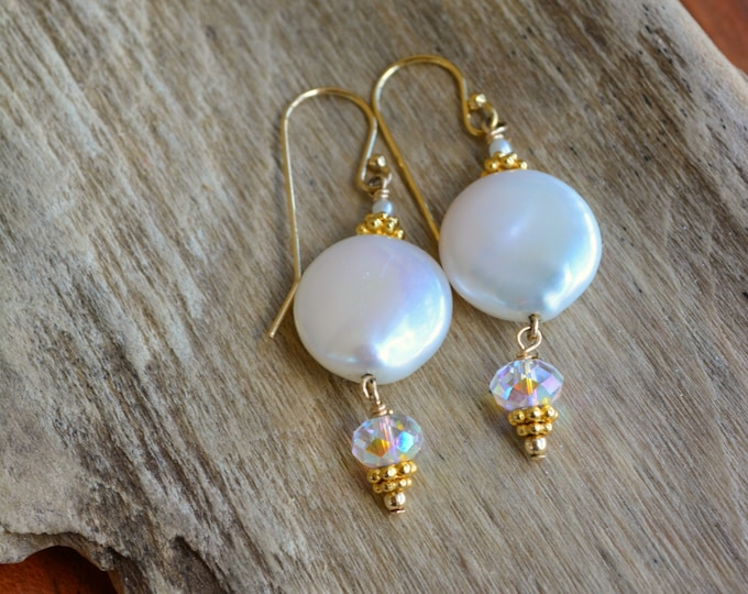 June Birthstone Earrings ~ White Pearl Jewelry