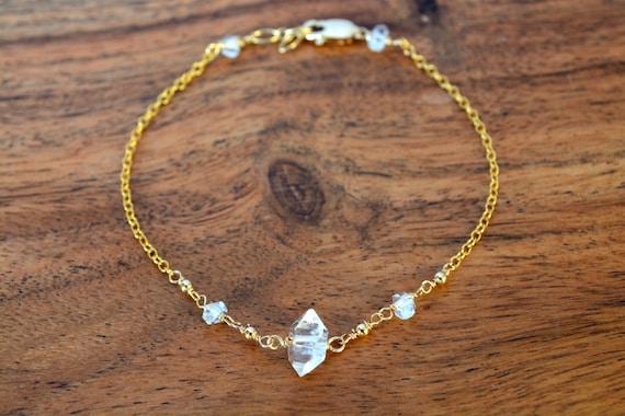 Raw Crystal Bracelet | Herkimer Diamond Jewelry | April Birthstone Gift