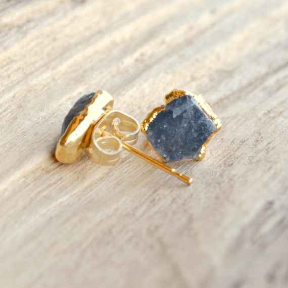 Raw Sapphire Post Earrings | Christmas Gift Ideas | September Birthstone
