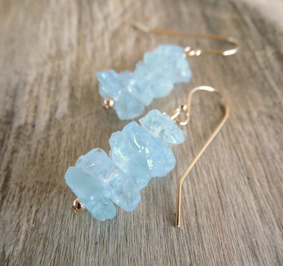 Raw Aquamarine Cluster Earrings