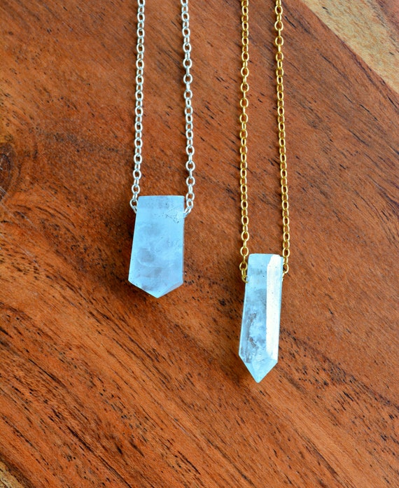 Men's Raw Aquamarine Crystal Pendant