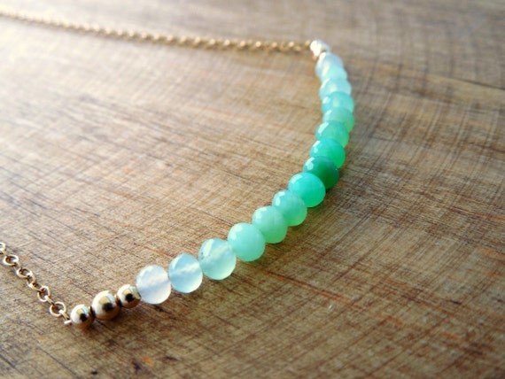 Chrysoprase Non Tradional Birthstone Necklace - May and December