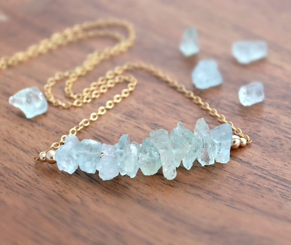 Protection Necklace | Raw Stone Necklace | Healing Crystal Gift | Aquamarine Jewelry