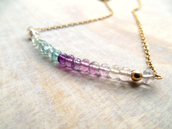 Rainbow Fluorite Bar Necklace