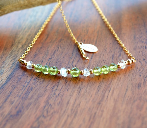 Peridot Bar Necklace ~ August Birthstone