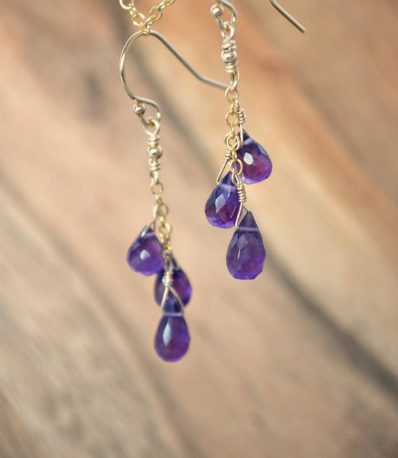 February Birthstone Jewelry | Purple Amethyst Dangle Earrings | Genuine Gemstone Jewelry | Birthday Gift For Wife, Sister, Girlfriend, Mom