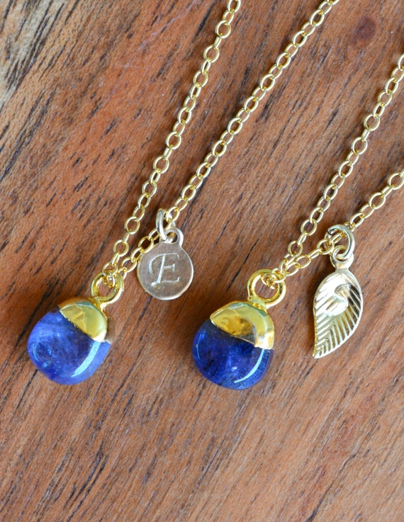 Sapphire Necklace With Gold Handstamped Tag