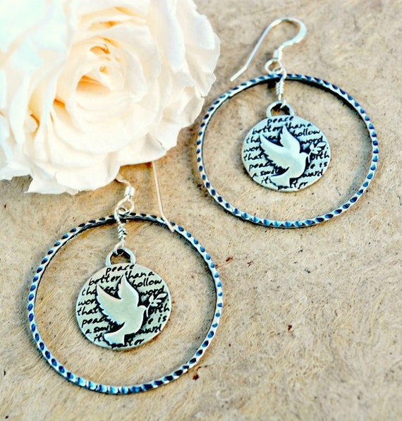 Sterling Silver Hoop Earrings With Dove Charms