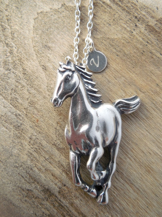 Equestrian Jewelry With Silver Initial Tag | Horse Necklace, A Perfect Horse Lovers Gift