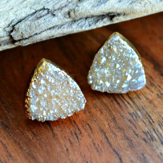Raw Druzy Earrings ~ Bohemian Wedding Jewelry