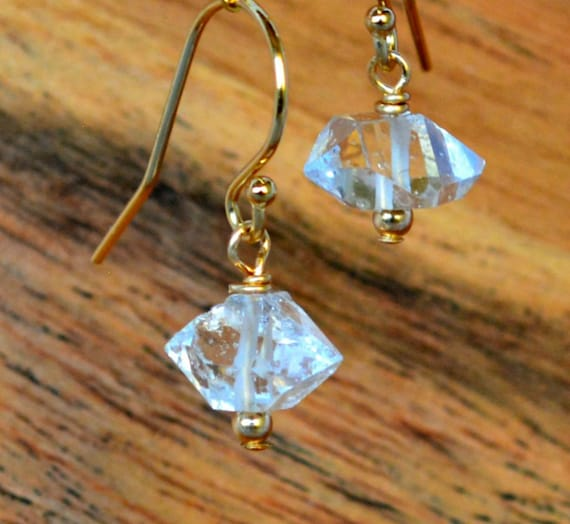 Dainty Raw Crystal Earrings ~ April Birthstone