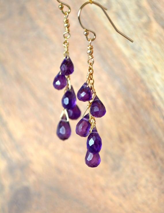 Long Amethyst Dangle Earrings