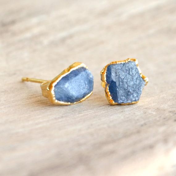 Blue Sapphire Wedding ~ Raw Sapphire Earrings