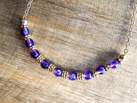 February Birthstone Bar Necklace - Amethyst and 14k Gold Filled