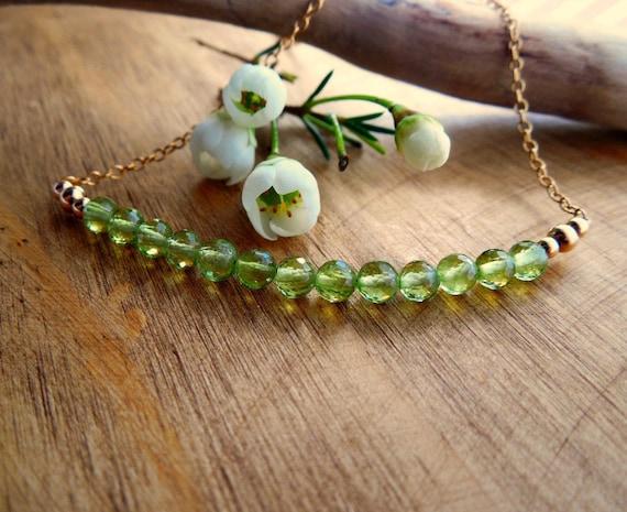 Peridot Bar Necklace ~ August Birthstone