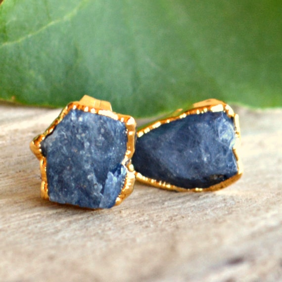 Raw Sapphire Earrings ~ September Birthstone