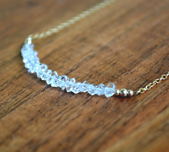 April Birthstone ~ Quartz Crystal Bar Necklace