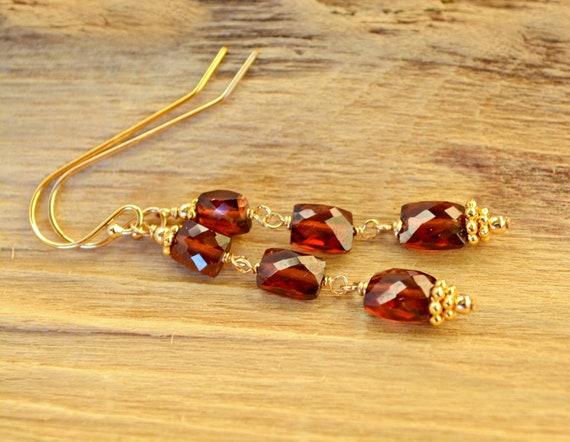 Red Garnet Earrings ~ 2nd Anniversary