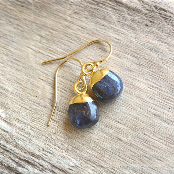 Raw Sapphire Gold Drop Earrings