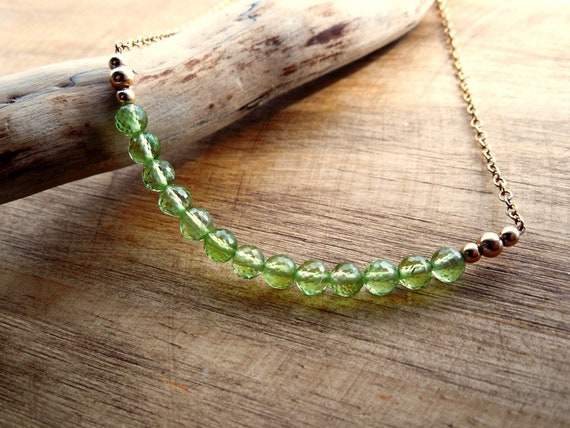 Peridot Birthstone Bar Necklace