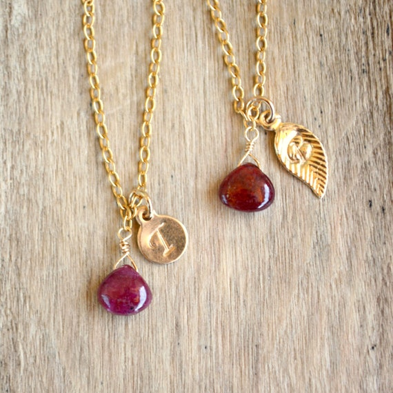 Dainty Ruby Necklace ~ Personalized Jewelry