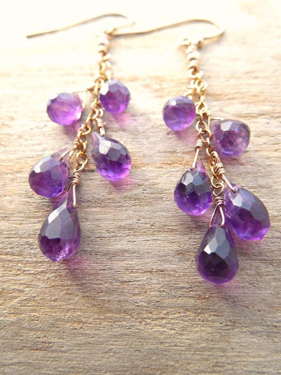 Long Dangle Amethyst Earrings | February Birthstone Jewelry | Genuine Purple Gold Amethyst Earrings
