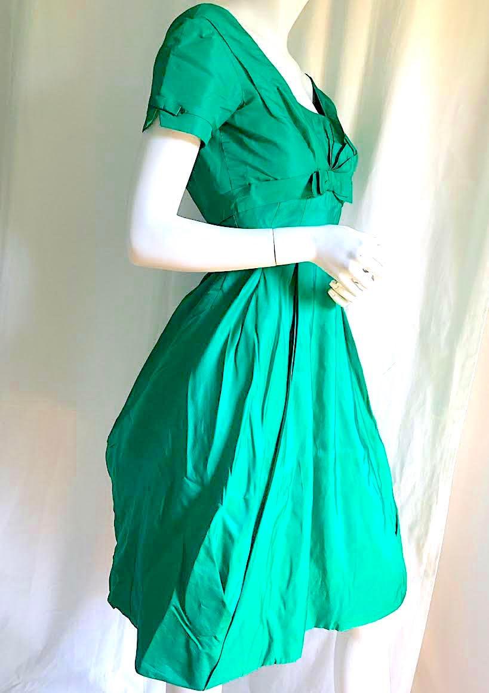 1950s Handbags, Purses, and Evening Bag Styles 1950S Ceil Chapman Dress, Mid Century Vintage Couture, Emerald Green Satin Bubble 50S Christian Dior Vib, 60S Balenciaga Dress Vibe $0.00 AT vintagedancer.com
