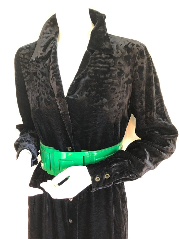 SOLD! 1970s HALSTON Shirtdress, Black Velvet Devor