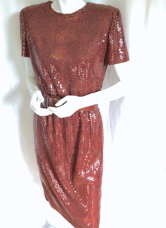 BILL BLASS, Vintage SEQUIN Dress, Belted Cocktail
