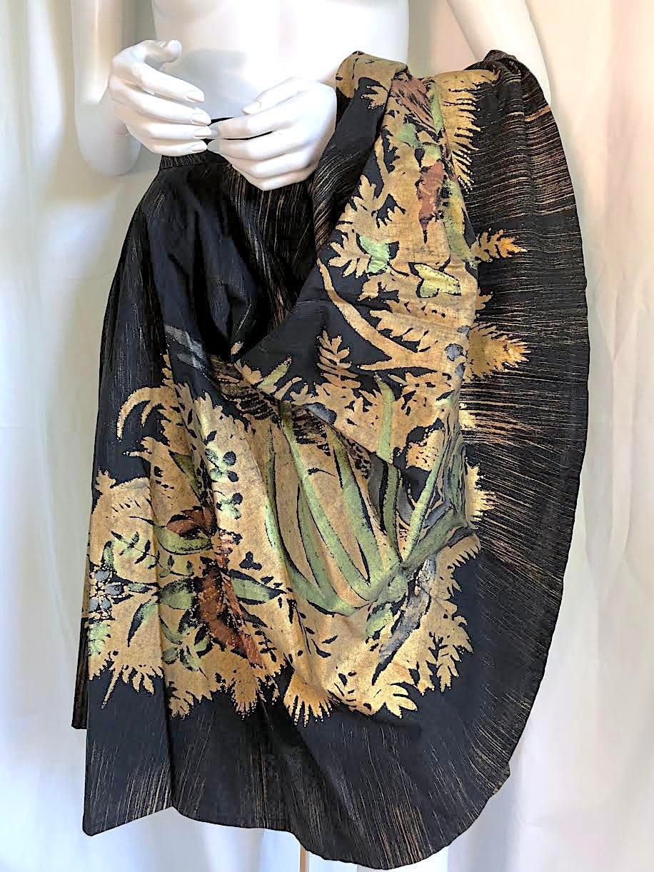 Vintage Scarf Styles -1920s to 1960s Mid Century Gold Gilded Mexican Circle Skirt, 1950S Rockabilly, Hand Painted Bohemian Elsa Schiaparelli Vibe, Wearable Art, Boho Chic $0.00 AT vintagedancer.com