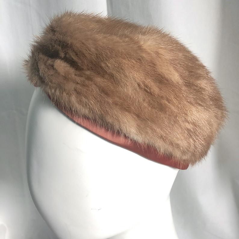 c0f0259faef2b Mid Century PASTEL MINK HAT Blonde Mink Pillbox Vintage Fur