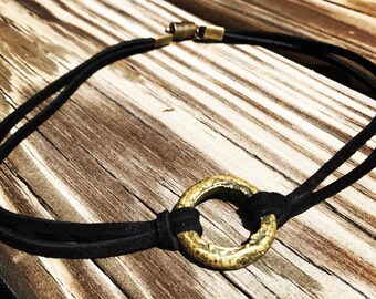 Black Suede Choker Necklace with Brass Ring Pendant and Magnetic Clasp