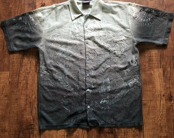 58a804be Vintage Black faded out to gray Mesh Dragon and tiger 2000s y2k Collard  shirt