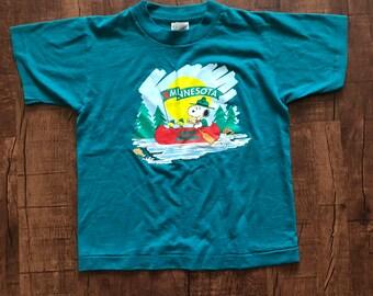 2f53502545 Vintage Kids Single stitch Snoopy Minnesota Camp shirt
