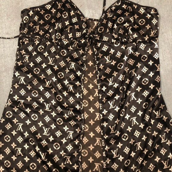Brown LV all over print top