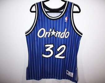 455e2d1e Vintage 90s Champion Orlando Magic Shaquille O'Neal Shaq Pinstripe  Authentic Stitched NBA Basketball Jersey - Size 44