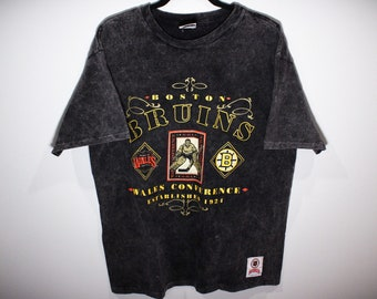 6f3253920406 Vintage 90s Boston Bruins Wales Conference NHL Hockey T-Shirt - Size Large