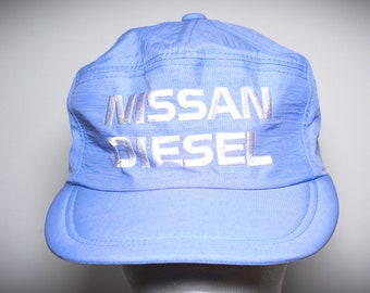 bc12cfdb870 Vintage 80s Nissan Diesel Datsun Automobiles Blue Hat