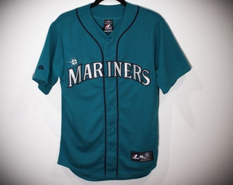 9933554a6 Vintage 90s Seattle Mariners Majestic MLB Teal Baseball Jersey - Size Small