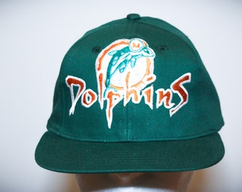 Vintage 90s Miami Dolphins NFL Football Snapback Hat 735615bd5