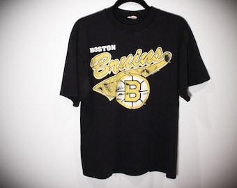 0bb890a74b45 Vintage 90s 1992 Boston Bruins NHL Hockey T-Shirt - Size Medium
