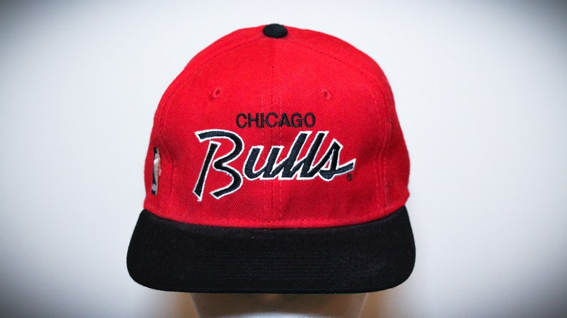 f7396884123 Vintage 90s Chicago Bulls Sports Specialties Script Fitted Hat