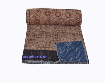 throw,Bed cover Bedspread Ajrak Queen size,King size quilt Blanket Handblock Kantha Quilt Handmade Ajrakh hand block print Saree