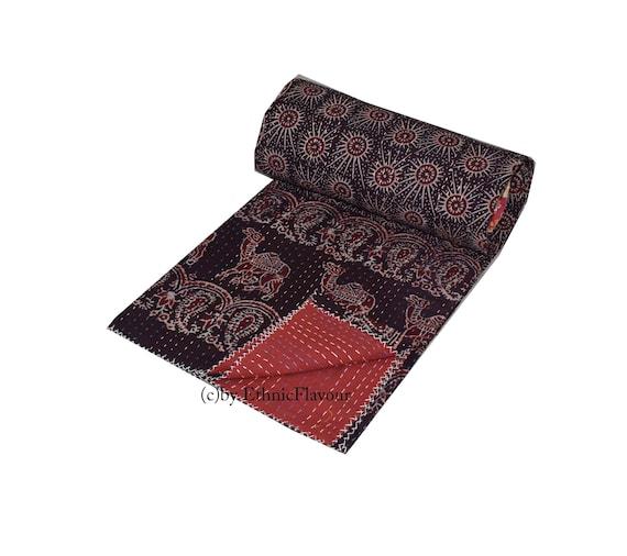 Reversible Handblock Kantha Quilt Blanket Handmade throw,Traditional Bed cover Bedspread Ajrak Queen size By GYPSYAstudio 003