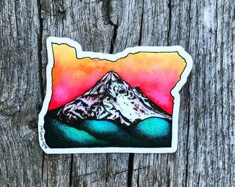 Mt. Hood at Dawn | Vinyl Sticker | PNW | Oregon | Mountain | Watercolor | Ski | Outdoors | Durable | Weatherproof | Nature | Matte Finish