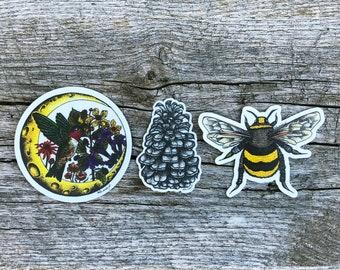 Pollinator Pack | Vinyl Sticker Set | Wildlife | Watercolor | Wildflowers | Outdoors | Durable | Weatherproof | Nature | Bee | Matte Finish