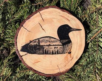 Split Rock Loon | 9'' Wood Illustration | Rustic Decoration | Lighthouse | Wildlife | Northern Minnesota | Wilderness Artwork