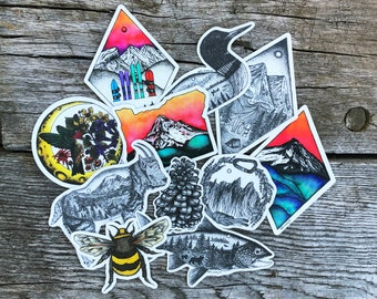 Variety Pack | Vinyl Sticker Set | Adventure | Mountains | Watercolor | Outdoors | Durable | Weatherproof | Nature | Wildlife | Matte Finish